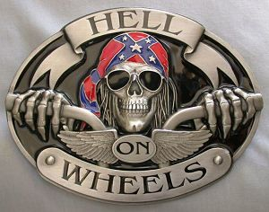 Hell On Wheels Motorcycle Rider With Wings Belt Buckle