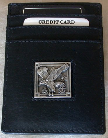 Eagle on Black Leather Credit Card Holder with Money Clip