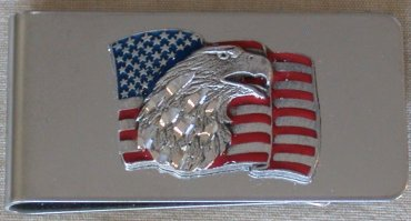 Eagle Head on US Flag Money Clip