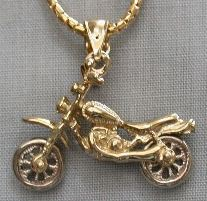 Two Tone Gold Dirt Bike Pendant