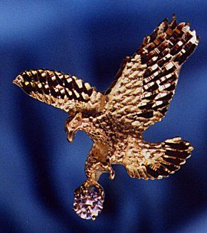 Small Bold Eagle Pendant with synthetic diamond