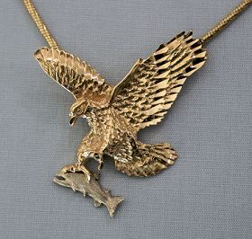 14kt Gold Flying Eagle Pendant With Custom Made Platinum Fish