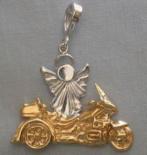 Layered Gold Trike pendant with Rhodium Angel