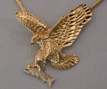 Custom motorcycle biker jewelry gold eagle pendants wings of gold 14kt gold flying eagle pendant with custom made platinum fish aloadofball Gallery